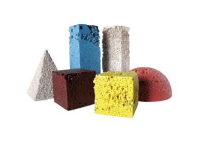 <i>Design del colore</i>, 2009, composizione con ceramiche sperimentali