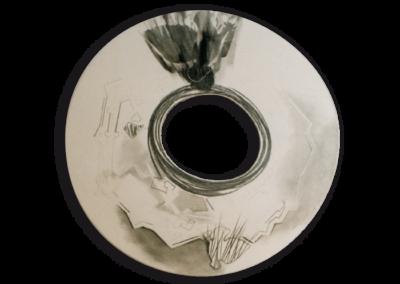 <i>Piombare nel buco nero</i>, 2009, sottosmalto su ceramica bianca